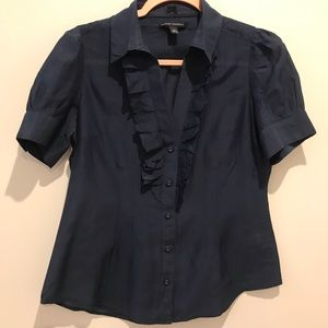 Navy Blue Fitted Cotton Silk Blend To. Size S